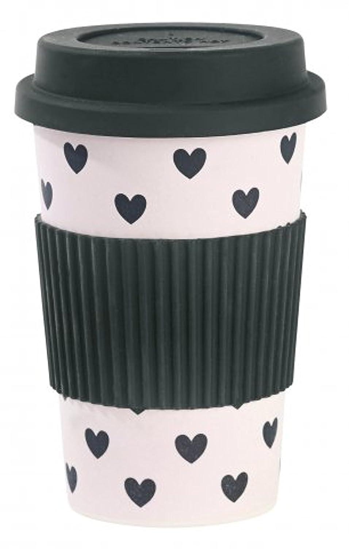 Miss Étoile Bamboo in melammina tazza da viaggio con cuori rosa/Nero