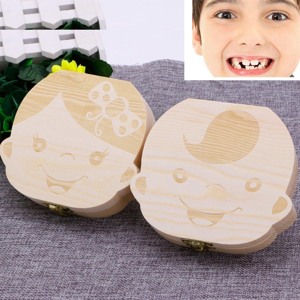 JUNESUN Kids Tooth Box Organizer Baby Save Milk Teeth Wood Storage Box For Boy/&Girl