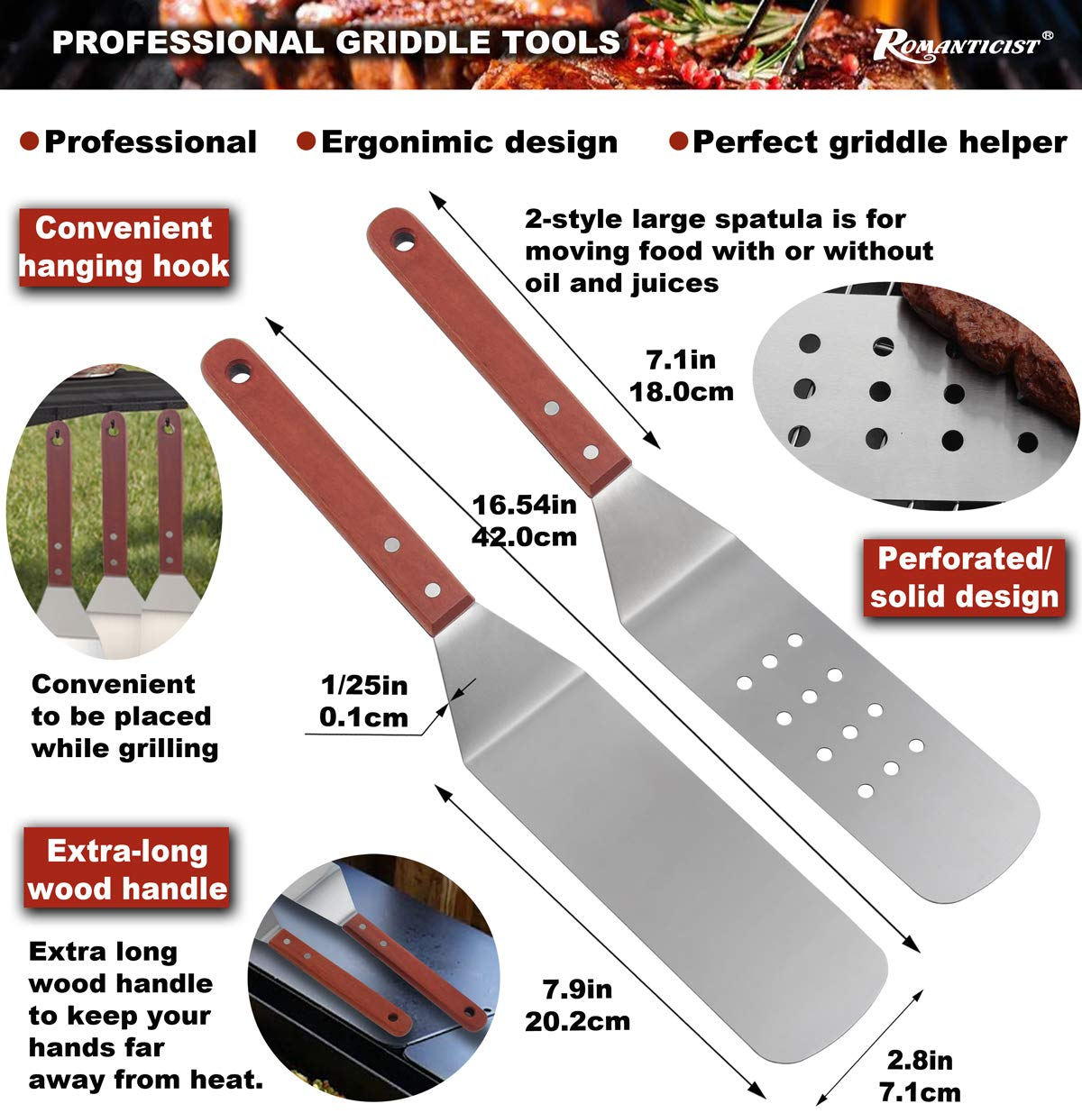 ROMANTICIST 8pc Griddle Accessories with 7'' Extra Long Deluxe Wood Handle - Premium Griddle Spatula Set in Carrying Bag for Flat Top Grill Hibachi - Perfect Grill Gift for Men Dad on Fathers Day by ROMANTICIST (Image #2)