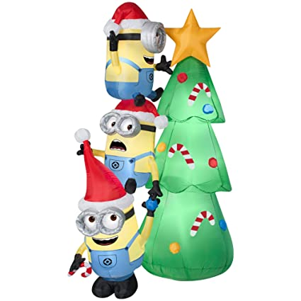 Amazon.com: Gemmy Inflatables Minions Decorating Tree Scene: Home ...