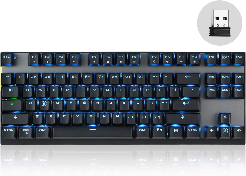 MOTOSPEED - Teclado mecánico inalámbrico de 2,4 GHz con 87 teclas de retroiluminación LED y interruptor marrón tipo C Gaming teclado para juegos y ...