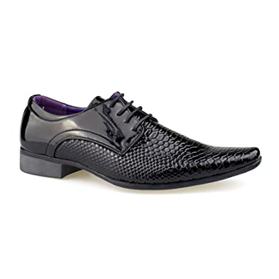MEN/'S FORMAL SLIP ON LACE UP PATENT BUCKLE PATTERN LOAFERS SHOES SIZE UK 6-11