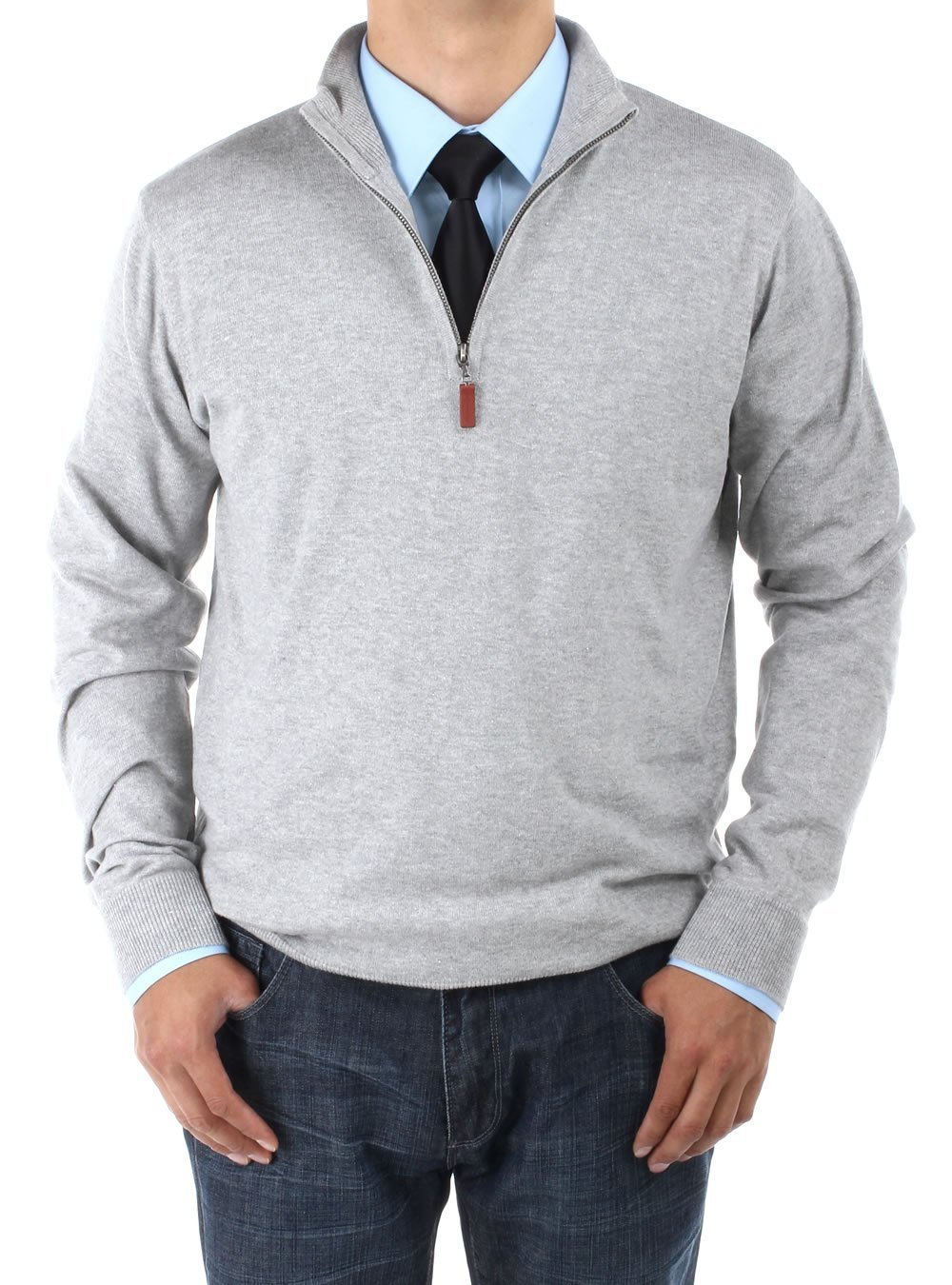 LN LUCIANO NATAZZI Men's Mock Neck 1/4 Zip Sweater Relaxed Fit (XXX-Large, Light Gray)