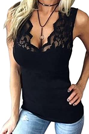 0ef11ccceda2 YOINS Women's V Neck Lace Details Sexy Sleeveless Vest Summer Blouse Cami  Tank Top Black UK4