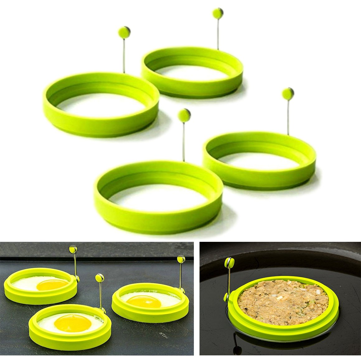 Cisixin Fried Egg Rings Non Stick Pancake Molds Silicone Cooking Rings Round with Handle for Frying Pack of 4