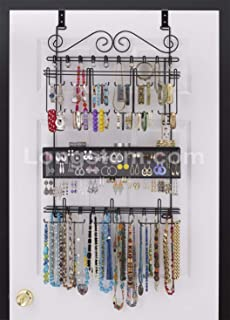 Genial Longstem: 6100 Overdoor Wall Jewelry Organizer Valet In Black   Holds Over  300 Pieces!