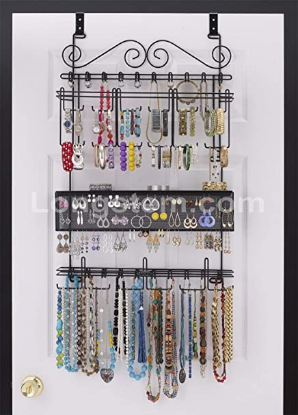 Charmant Longstem: 6100 Overdoor Wall Jewelry Organizer Valet In Black   Holds Over  300 Pieces!
