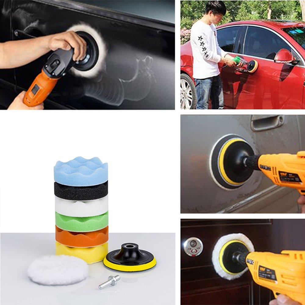 Almohadillas pulidoras de 17,8 cm para el coche con adaptador de taladro juego de 8
