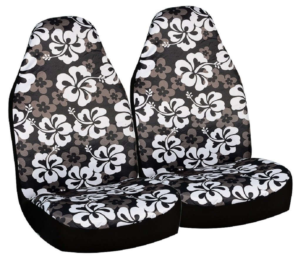 Allison 67-0346BLK Black Hawaiian Print Universal Bucket Seat Cover - Pack of 2 Allison Corporation