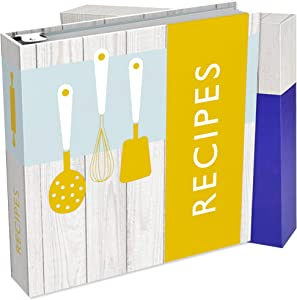 ENOLVO Recipe Binder 8.5X11 3 Ring - Full Page Recipe Book Binder Kit, Make Your Own Cookbook Binder Recipe Organizer – Plastic Page Protectors, Cards, and Dividers for 80 Recipes – Gift Box
