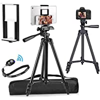 """PEMOTech Compatible for iPad iPhone Tripod, 50"""" Lightweight Aluminum Phone Camera Tablet Tripod + Universal 2 in 1 Mount…"""