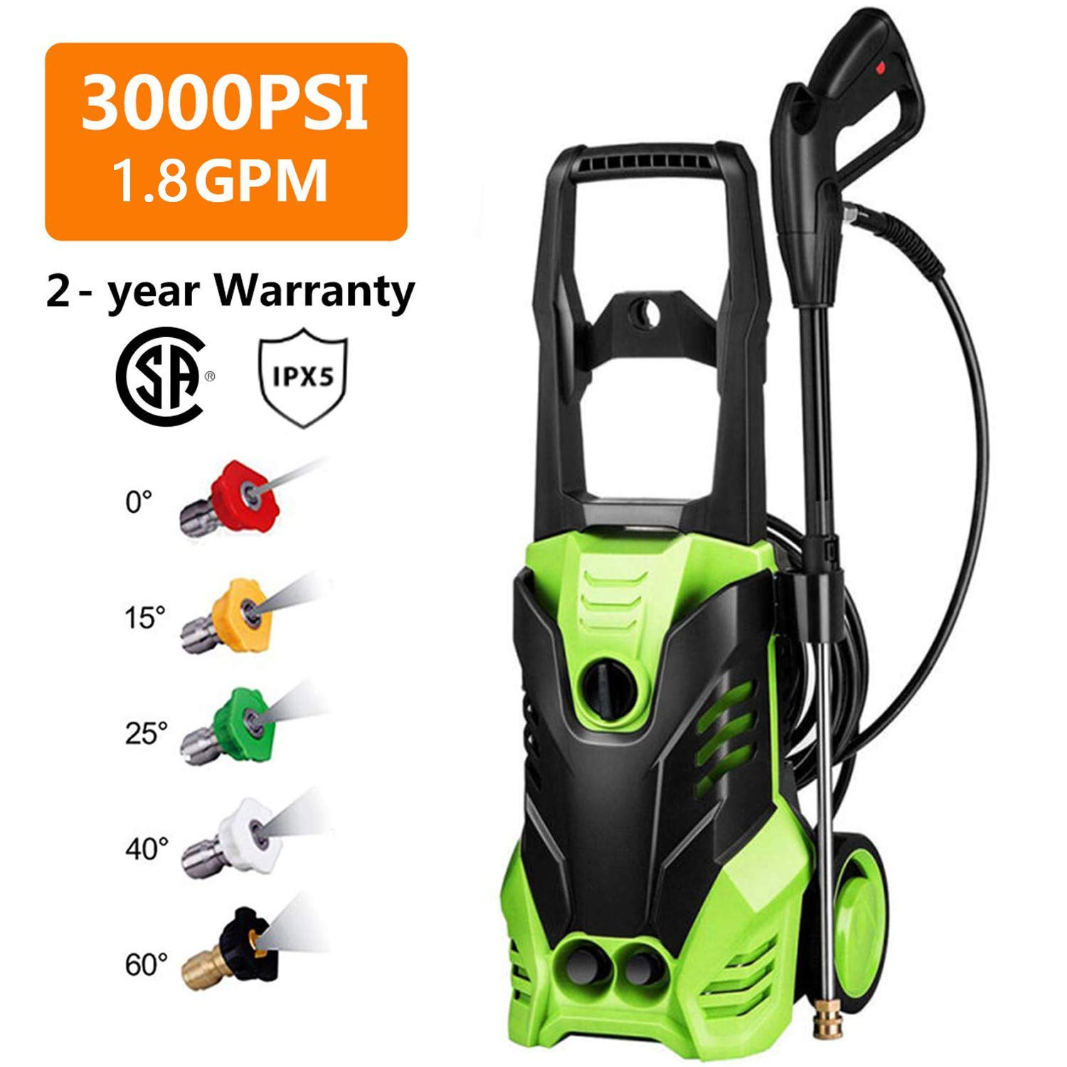 Homdox 3000 PSI Electric Pressure Washer Power Washer 1800W Rolling Wheels High Pressure Washer Cleaner Machine with 5 Nozzles, 1.80 GPM