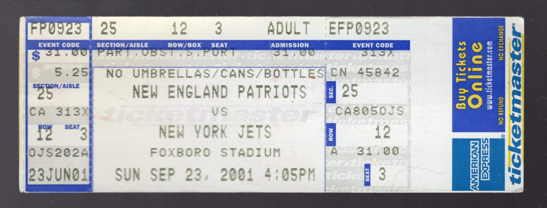 September 23, 2001 Patriots Vs Jets Tom Brady Takes Over From Bledsoe Full Ticket