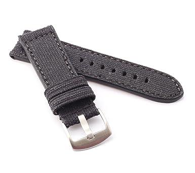 Canvas Textil Uhrenarmband Modell Vineo schwarz 24 mm