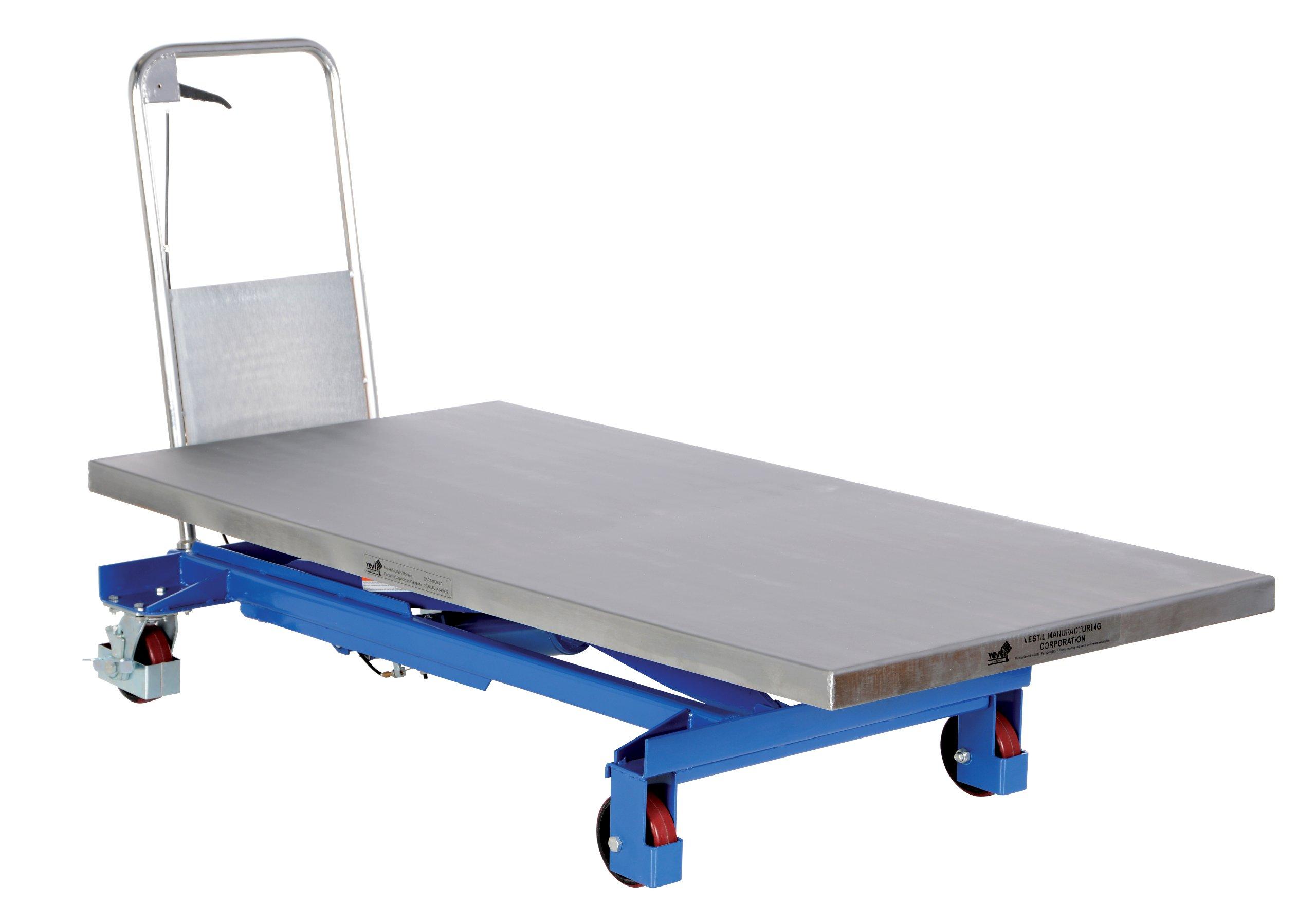 Vestil CART-1000-LD Single Scissor Hydraulic Elevating Cart, 1000 lbs Capacity, 63'' Length x 31-1/2'' Width Platform