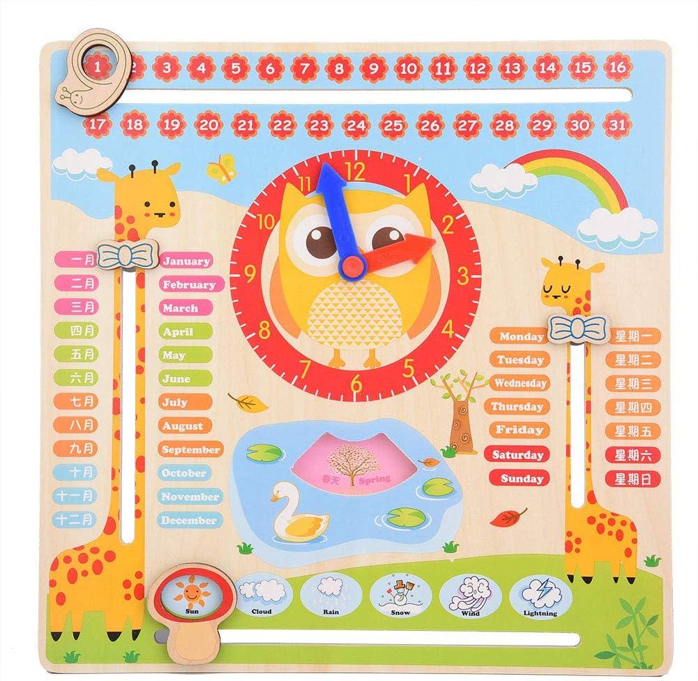 Todo Sobre El Día de Hoy Reloj Educativo de Madera Reloj de Calendario Tablero de Enseñanza Reloj Calendario Mostrar Fecha Temporada Tiempo Clima Juguete Cognitivo Para Niños