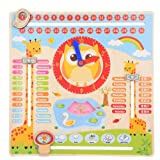 All About Today Educational Wooden Clock Toy Calendar Board Teaching Clock Show Calendar Chart Date Season Weather Kids Cognitive Toy