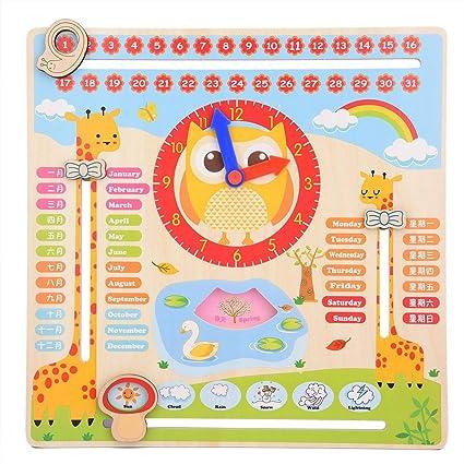 Calendrier Pedagogique.Garosa Horloge Calendrier Educative Precoce Enfants En Bois