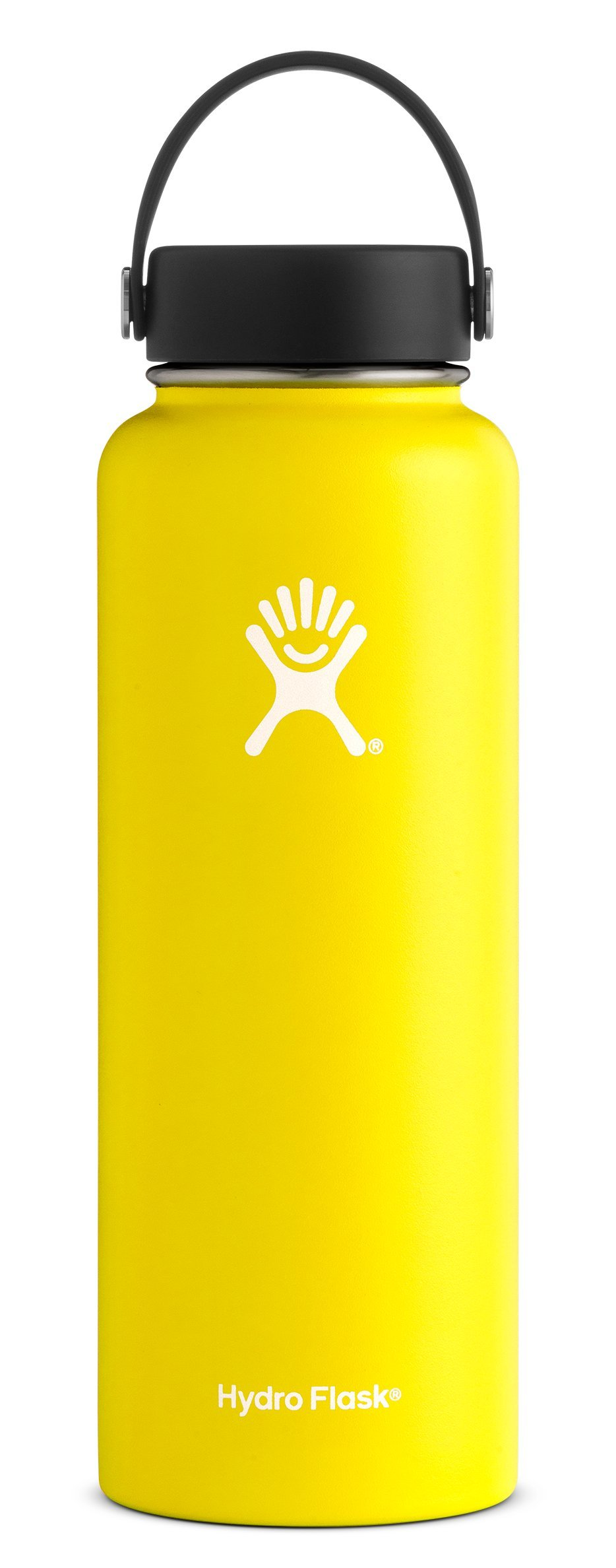 Hydro Flask 40 oz Double Wall Vacuum Insulated Stainless Steel Leak Proof Sports Water Bottle, Wide Mouth with BPA Free Flex Cap, Lemon by Hydro Flask