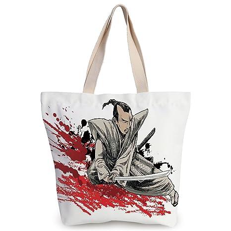 Amazon.com: Stylish Canvas Tote Bag,Japanese,Warrior Holding ...