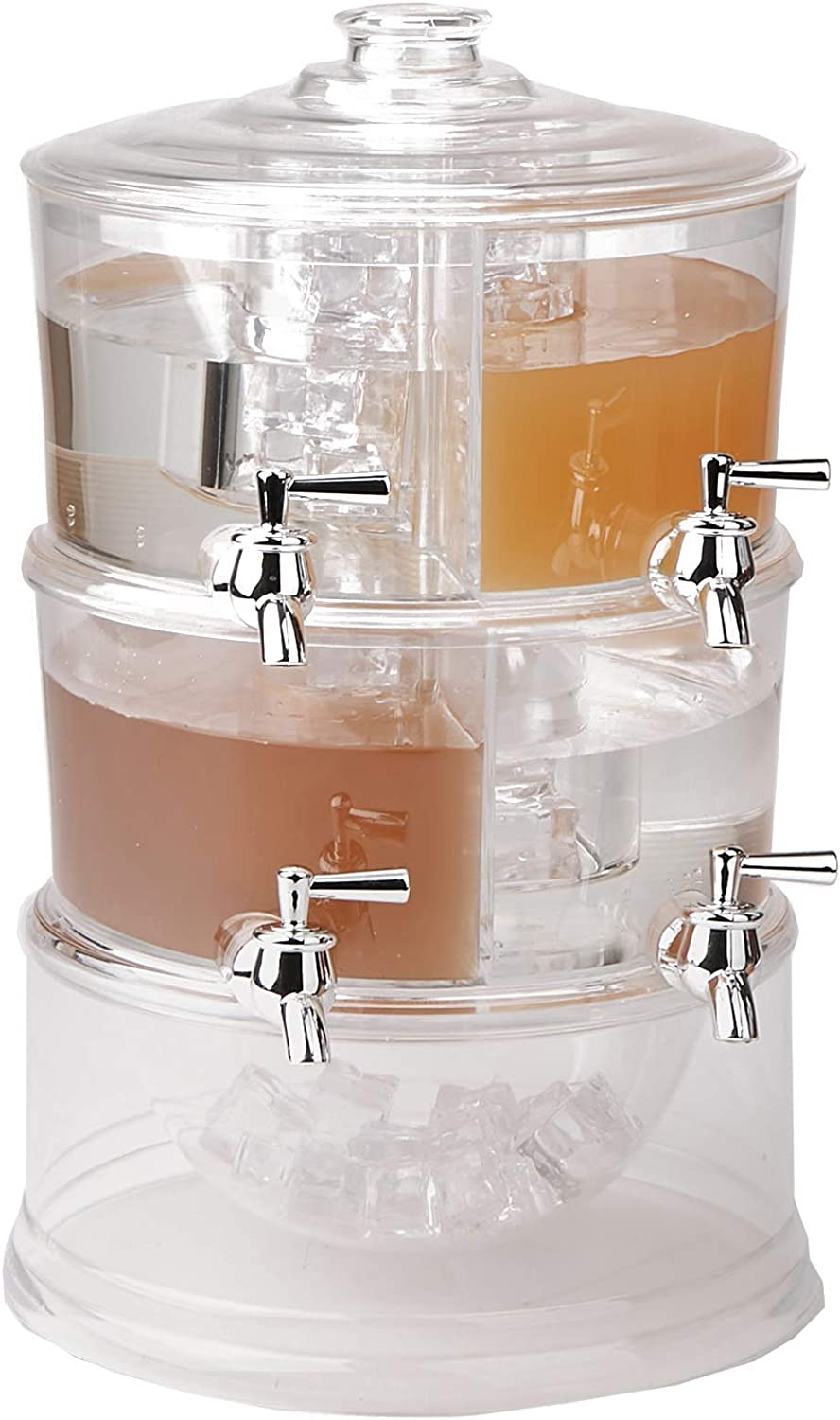 Mind Reader Beverage Dispenser, 2 Tier Stackable Holder with Lids, Clear Acrylic 4 Compartment Drinks Display with Spigots, One Size