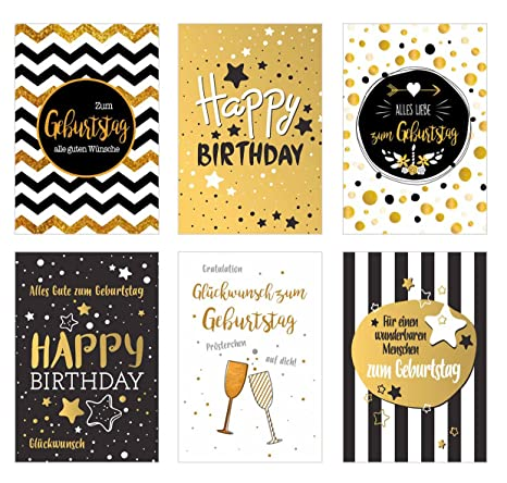 Geburtstag Karte.Edition Seidel Set 6 Exklusive Premium Geburtstagskarten Mit Feiner Goldpragung Und Umschlag Gluckwunschkarte Grusskarte Geburtstag Geburtstagskarte