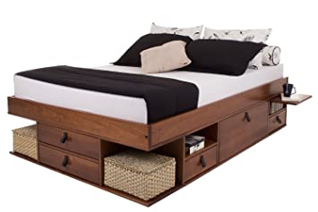 Functional Bali Bed With Plenty Of Storage Maple 160x200cm