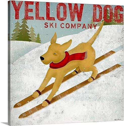 Yellow Dog Ski Canvas Wall Art Print