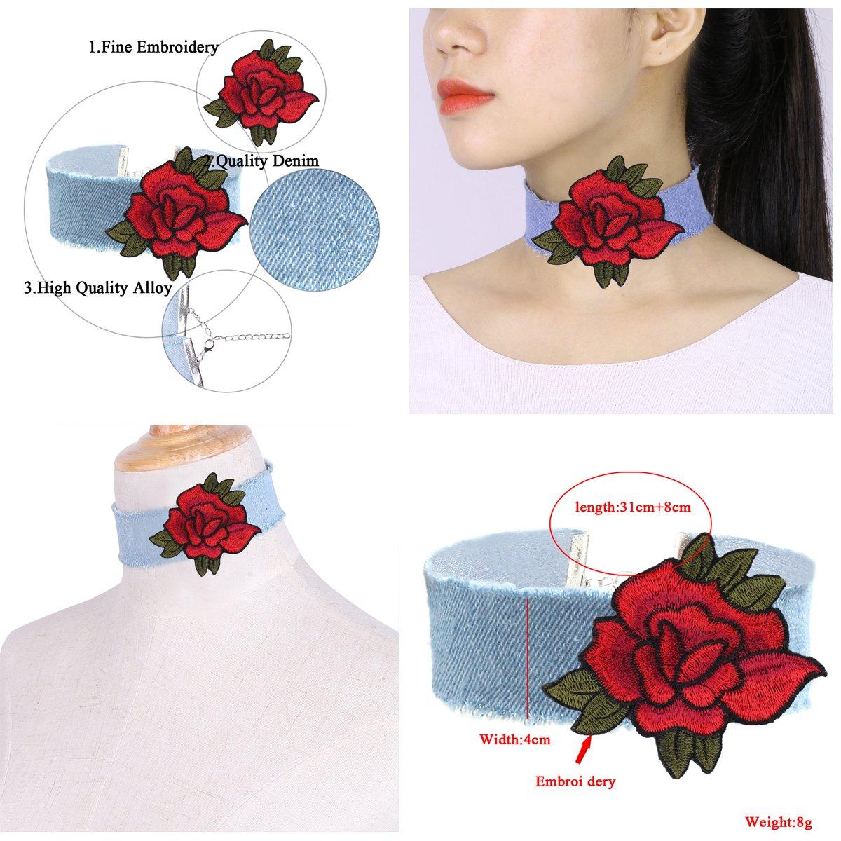 Tpocean 7PCS Embroidery Rose Punk Jeans Velvet Lace Tatoo Choker Set Women Girls Party Gifts