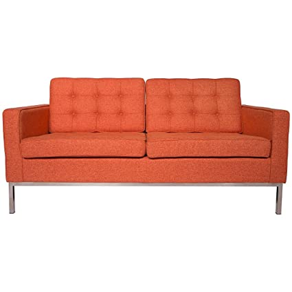 LeisureMod Modern Florence Style Loveseat Sofa (Orange Twill Wool)