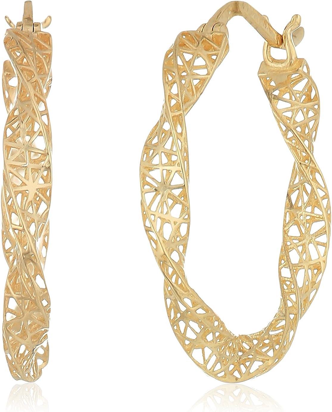 14k Yellow Gold Twist with Micro-Filigree Texture Hoop Earrings