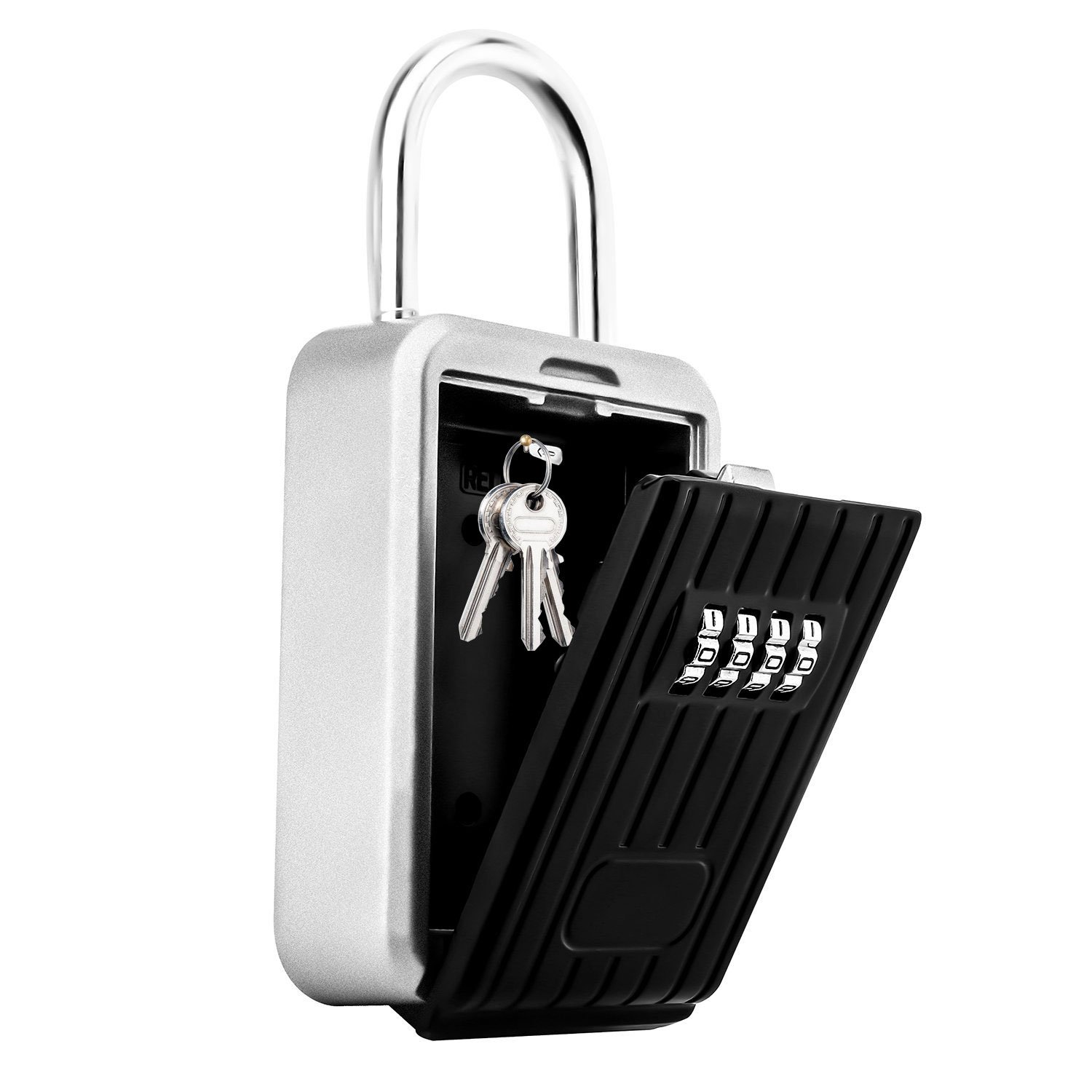 Key Lock Box,Key Storage Lock Box for House Key with 4-Digit Combination,Hanging Key Safe Box Weatherproof for Indoors and Outdoors (Hanging)