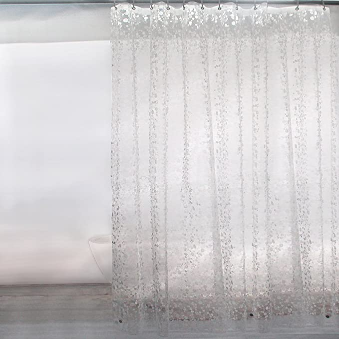 Pebble 72 x 78 Inch,12 Hooks,Color Extra Long Shower Curtain Liner Clear