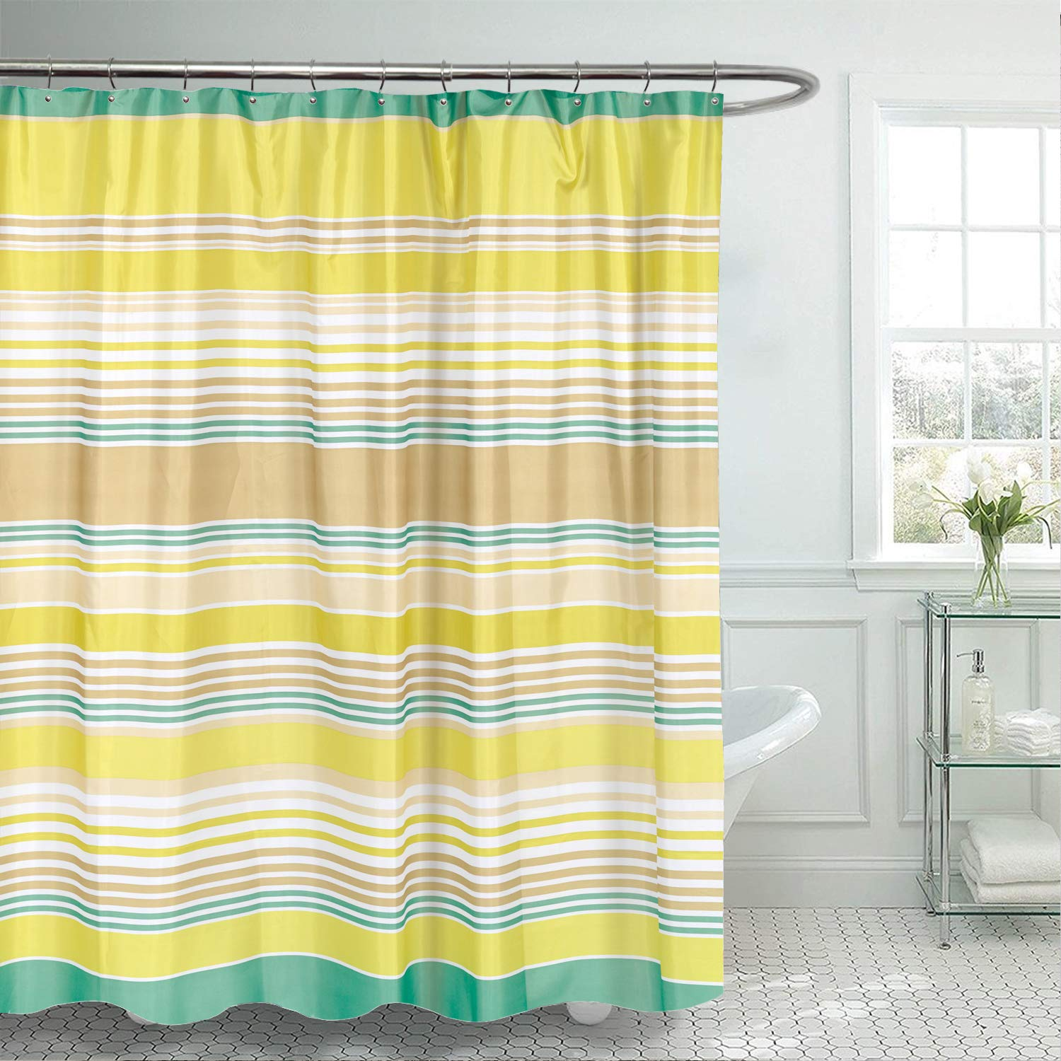 Easy Hang Fun Designs for Shower Stalls /& Bathtubs Extra Wide Multi Water Resistant Machine Washable Fabric Anti-Mildew Material Sweet Home Collection Curtain