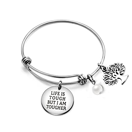 AGR8T Best Friend Family Bangle Bracelet Tree of Life Pearl Life is Tough  But I am Tougher
