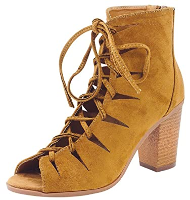 Women's Caged Cut Out Lace-Up Chunky Stacked Block Heel Ankle Bootie