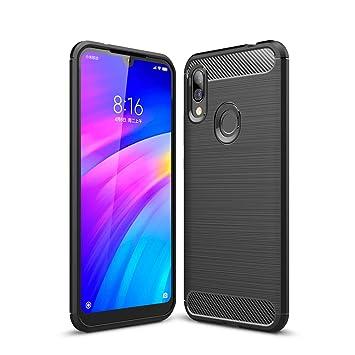 TopACE Funda para Xiaomi Redmi 7,Funda Móvil de Fibra de Carbono Carcasa Móvil Cepillada de Silicona Suave Simple Ligera y Anti-caída Protector Móvil ...