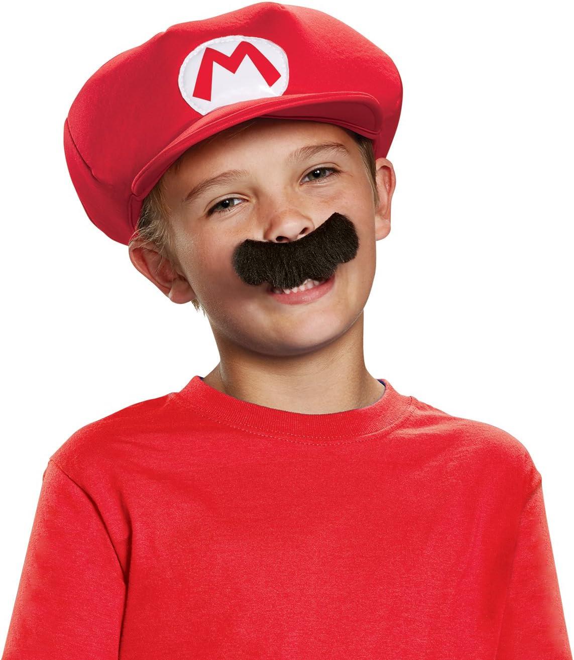 Super Mario 13371 – Gorra y bigote Mario Carnaval para niños, rojo ...