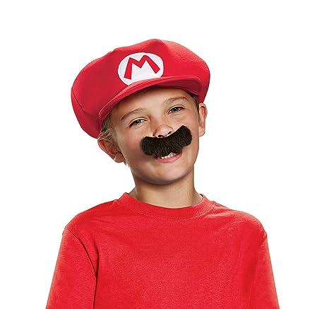 Super Mario 13371 – Gorra y bigote Mario Carnaval para niños, rojo, talla única