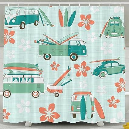 Amazon Com Surfboards Pattern Bathroom Shower Curtain Waterproof