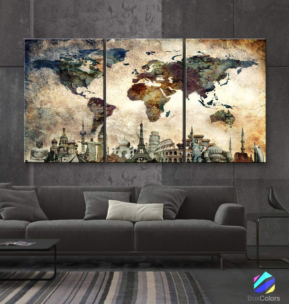 "Original by BoxColors LARGE 30""x 60"" 3 panels 30x20 Ea Art Canvas Print Map World Wonders Old paper texture wall home decor (framed 1.5"" depth) M1844"