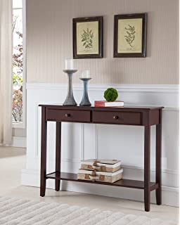 kings brand furniture console entryway table with 2 drawers walnut finish wood