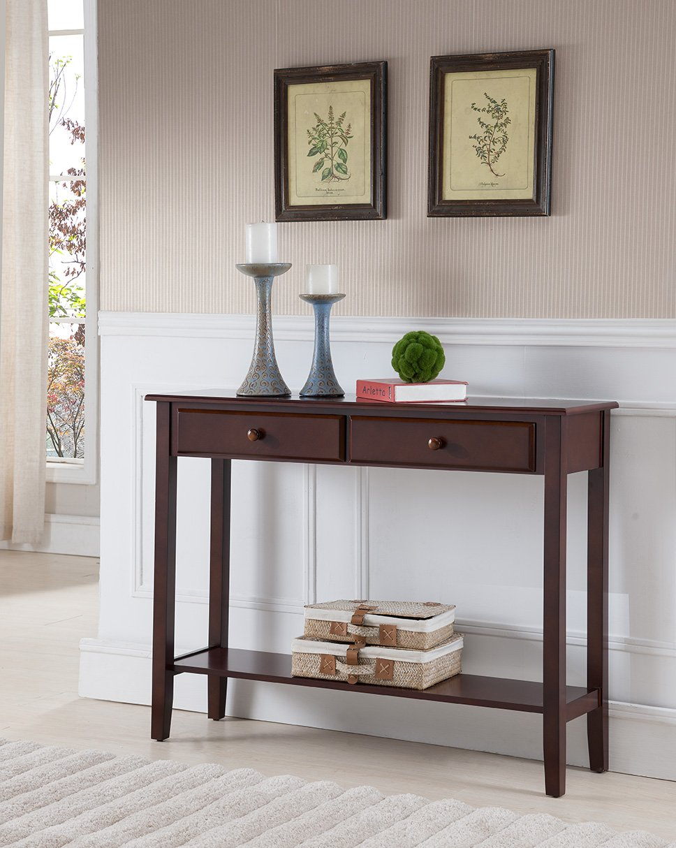 Kings Brand Furniture Console Entryway Table with 2 Drawers, Walnut Finish Wood