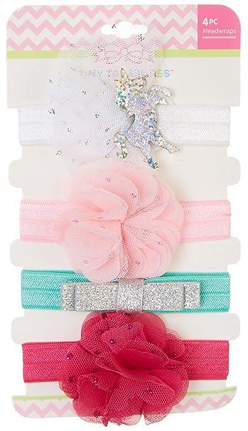 Amazon.com  Tiny Treasures Baby Girls 4-pk. Unicorn Headbands One Size Pink  Multi  Baby f8e8af7e6f7