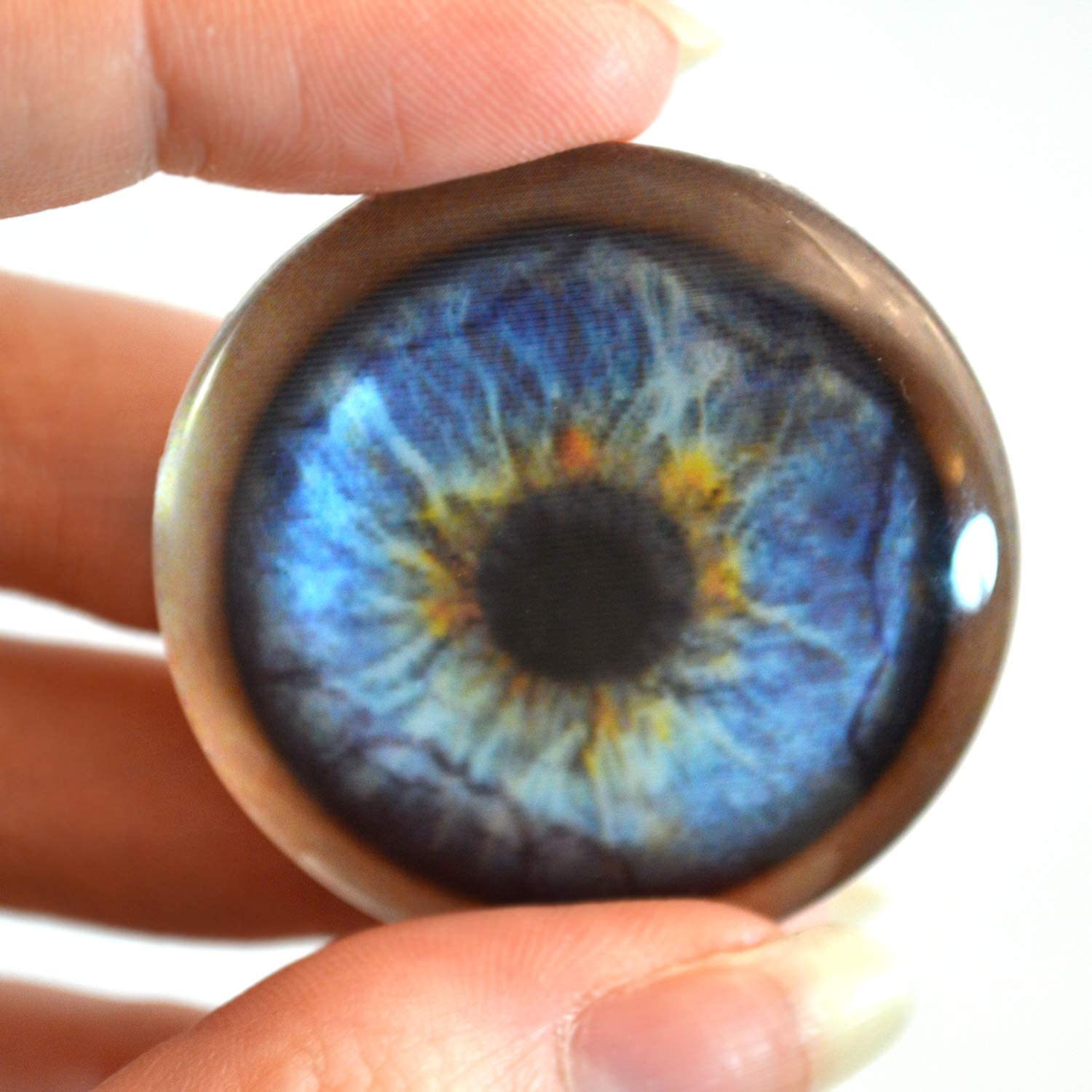 30mm Blue Werewolf Glass Eyes Animated Holographic Cabochons Pair Jewelry Making