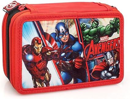 Marvel Vengadores 63224 Estuche 3 bisagras, Plumier Triple, 44 Piezas: Amazon.es: Oficina y papelería