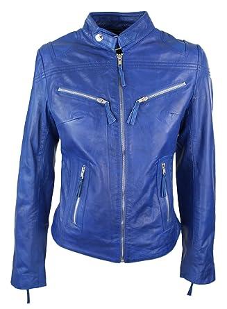 Perfecto veste cuir doux véritable femme style biker racing Nouvelle Collection