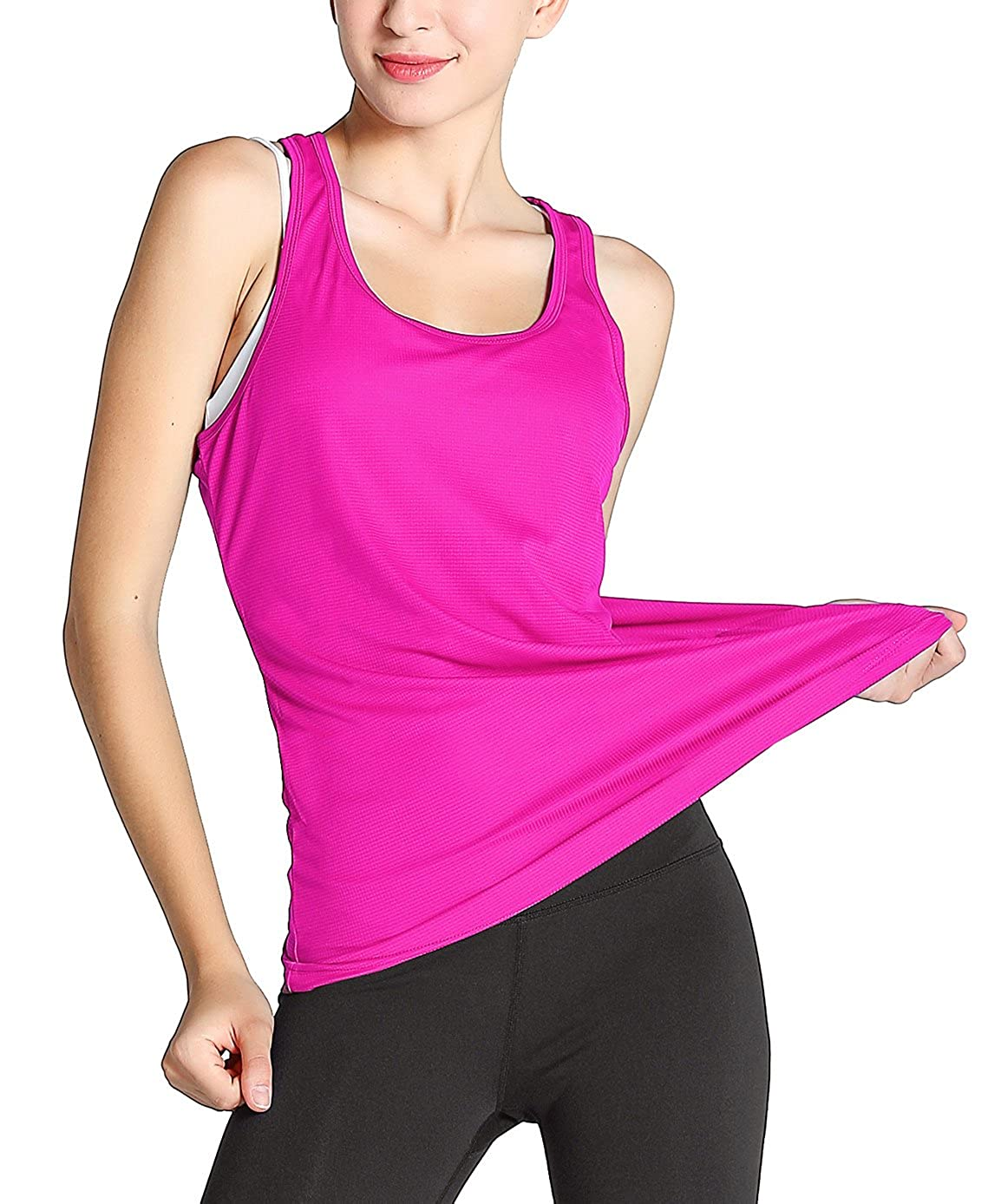 newest ea374 2da50 Amazon.com  Fastorm Running Tank Tops for Women Active Racerback Dry Fit  Tank Top Cyber Pink-2XL  Clothing