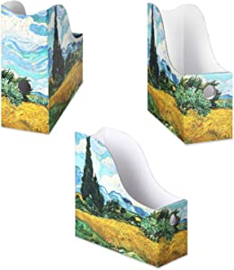 Sturdy Cardboard Magazine Holders, Folder Holders (3 Pack, Cypress Wheatfield), Stunning Impressions Design, Magazine Organizer, Folder Organizer, Storage Box, Book Bins, Desk File Holder Organizers
