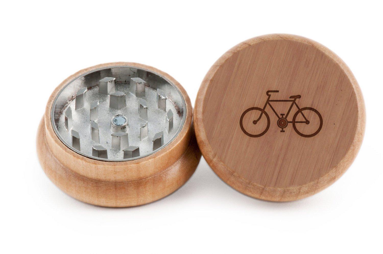 GRINDCANDY Spice And Herb Grinder - Laser Etched Bicycle Design - Manual Oak Pepper Grinder